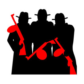 stock photo of tommy-gun  - Gangsters with Tommy Gun silhouette illustration isolated over white background - JPG