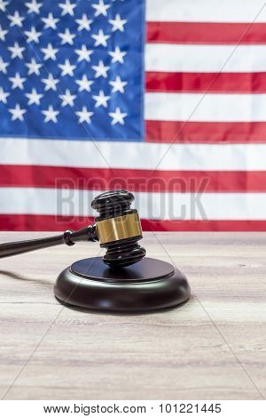 Gavel on Wooden tables USA