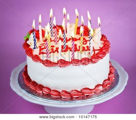 poster of Birthday Cake With Lit Candles