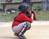 stock photo of little-league  - youth baseball player in catcher - JPG