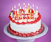 foto of happy birthday  - Birthday cake with burning candles on a plate on pink background - JPG