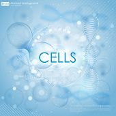 Постер, плакат: Medical background with DNA and cells Science background with cells HUD Blue cell background Life