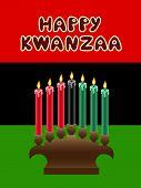 stock photo of unity candle  - kwanzaa kinara with The Black Liberation Flag as backdrop - JPG