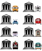 image of school building  - american government and public services icons illustration - JPG