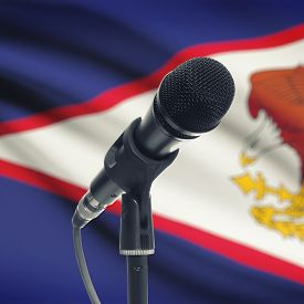 stock photo of samoa  - Microphone with national flag on background series  - JPG
