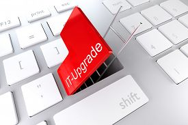 picture of underpass  - keyboard with red enter button open revealing underpass and ladder IT upgrade illustration - JPG