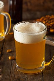 stock photo of stein  - Golden Beer in a Glass Stein for Oktoberfest  - JPG