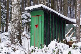 image of outhouse  - Rural old outhouse in winter - JPG