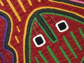 stock photo of mola  - This is details of a Mola Textile Panel made by the  Kuna women of Panama - JPG