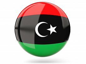 picture of libya  - Glossy round icon with flag of libya - JPG