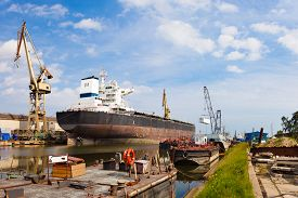 picture of shipyard  - Ship moored at the quay in shipyard of Gdansk Poland - JPG