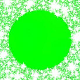 foto of monochromatic  - Ornamental round border of snowflakes on green monochromatic background - JPG