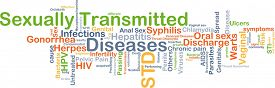 stock photo of syphilis  - Background concept wordcloud illustration of sexually transmitted disease STD - JPG