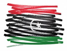 stock photo of libya  - Flag illustration made with pen  - JPG