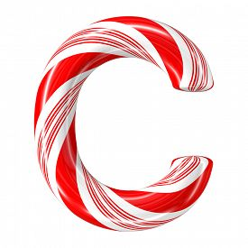 foto of desert christmas  - Mint hard candy cane 3d alphabet collection striped in Christmas colours - JPG