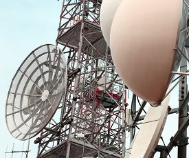 picture of wiretap  - large telecommunications antennas and repeaters of television and telephone signals - JPG