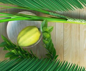 foto of sukkot  - Symbols of the Jewish holiday Sukkot with palm leaves and glass wine 3D illustration - JPG