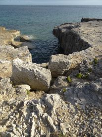 stock photo of inlet  - Cliff inlet seascape photographed at Portland in Dorset - JPG