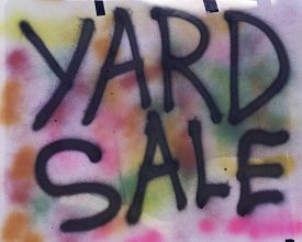 foto of superimpose  - Yard Sale Sign with large black capital letters superimposed on multi - JPG