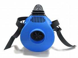 stock photo of respirator  - Blue respirator with straps isolated on white background - JPG