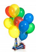 image of party hats  - Primary color balloon boques with party hats - JPG