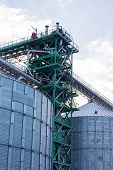 Metal Grain Elevator In Agricultural Zone. Agricultural Silos. Building Exterior. Storage And Drying poster