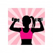 silhouette of female working out -  highlight behind