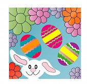 stock photo of easter eggs bunny  - bunny eggs and flowers - JPG