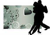 picture of ballroom dancing  - romantic tango dancers vector - JPG