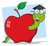 Happy Student Worm In An Apple
