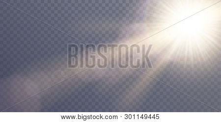 poster of Vector Sunlight Special Lens Flare Light Effect. Sun Flash Shining With Rays And Spotlight. Flares A
