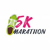 5k Marathon Run Event With Sneakers. Vector Illustration. poster