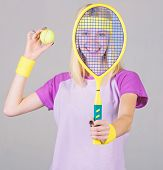 Tennis Sport And Entertainment. Active Leisure And Hobby. Girl Fit Slim Blonde Play Tennis. Sport Fo poster