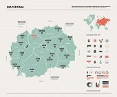 Vector Map Of Macedonia. Country Map With Division, Cities And Capital Skopje. Political Map,  World poster