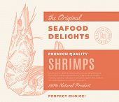 Premium Quality Seafood Delights. Abstract Vector Packaging Design Or Label. Modern Typography And H poster