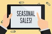 Conceptual Hand Writing Showing Seasonal Sales. Business Photo Text Discount Which Is Offered On Goo poster