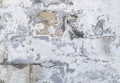 Grungy Damaged Brick Wall Background. Textured Backdrop With Cracked Stucco And Cement. Old Worn Sto poster