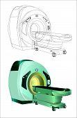 stock photo of magnetic resonance imaging  - illustration of magnetic resonance imaging in color and outline version - JPG