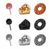 Vector Illustration Of Confectionery And Culinary Icon. Set Of Confectionery And Product Stock Vecto poster
