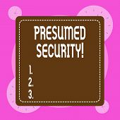 Conceptual Hand Writing Showing Presumed Security. Business Photo Showcasing System Safe From Attack poster