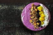 Colorful, Healthy Food. Acai Smoothie Bowl. Keto Breakfast Idea. Fruit Curd Smoothie, Granola, Fruit poster
