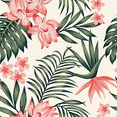 Summer Exotic Green Tropical Palm, Monstera Leaves And Pink Lily, Frangipani, Plumeria, Bird Of Para poster