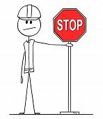 Cartoon Stick Figure Drawing Conceptual Illustration Of Construction Worker With Hard Hat Holding Re poster