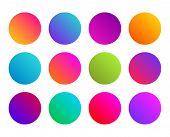 Rounded Gradient Sphere Button. Multicolor Fluid Circle Gradients, Colorful Soft Round Buttons. Vivi poster