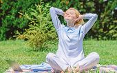 Reasons You Should Meditate Every Day. Clear Your Mind. Girl Meditate On Rug Green Grass Meadow Natu poster