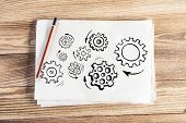 Group Of Rotating Gears Pencil Hand Drawn. Business Concept Of Teamwork. Machine Mechanism With Gear poster