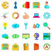 Large Data Warehouse Icons Set. Cartoon Set Of 25 Large Data Warehouse Icons For Web Isolated On Whi poster