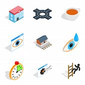 Physiotherapist Icons Set. Isometric Set Of 9 Physiotherapist Icons For Web Isolated On White Backgr poster
