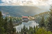 scenic view over the Mummelsee in the Black Forest in Germany poster