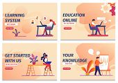 Learning System, Start Online Education, Knowledge, Get Started With Us Horizontal Banners Set. Dist poster